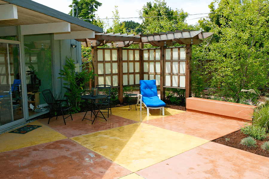 modern concrete patio. Checker Board Outdoor Patio Area Modern Concrete