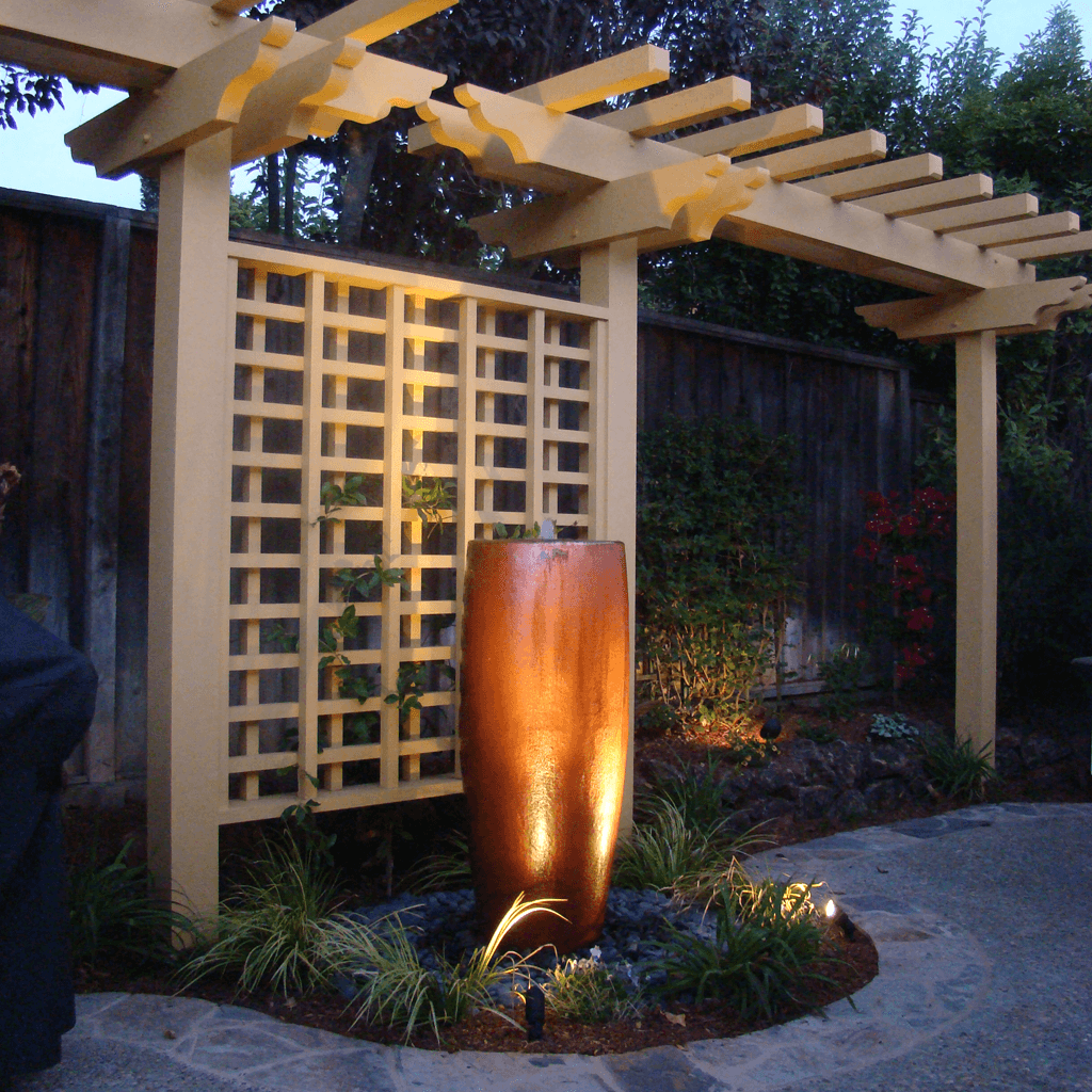 landscape design architecture custom pergola fountain